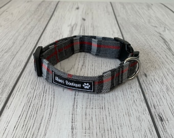 Stunning handmade grey and red tartan Dog Collar.