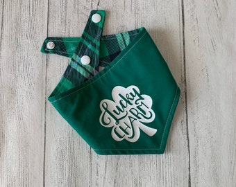 Lucky Charm and St Patrick's Day Tartan reversible dog Bandana.