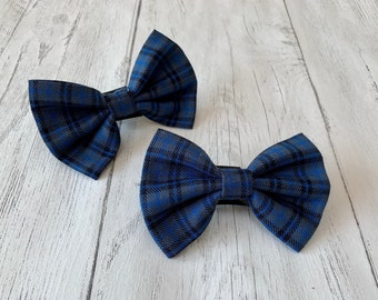 Handmade Dog Bow Tie in Blue and Grey Tartan