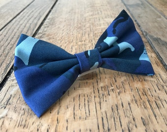 Handmade Dog Bow Tie in Blue Camouflage Fabric