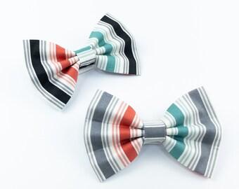 Stripe summer dog bow tie