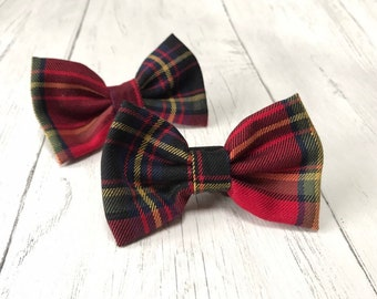 Handmade Dog Bow Tie in Albies Signature Red, Gold and Royal Blue Tartan