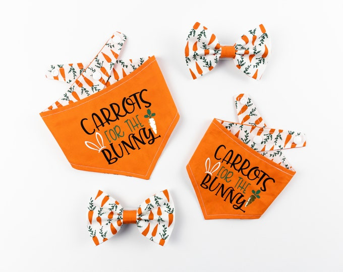 Featured listing image: Reversible Easter Dog Bandana with a Carrots for the Bunny Vinyl print