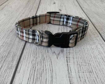 Stunning handmade beige and red tartan Dog Collar.