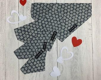 Over the Collar Dog Bandana in Grey and White Scandi Heart Design
