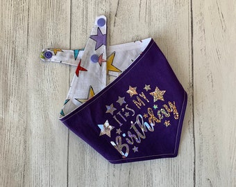 Birthday Dog Bandana in purple and stars fabric.