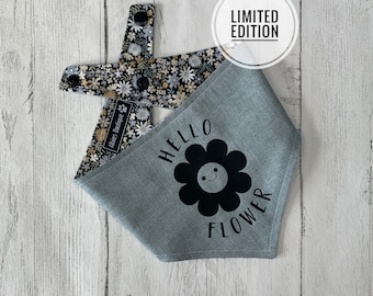 Reversible Hello Flower Dog Bandana in Grey with a grey and cream ditsy flower fabric