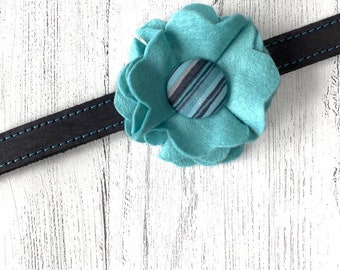Duck egg and Blue Stripe Dog Collar Flower in a wool felt fabric