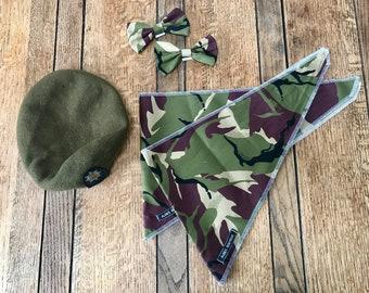 Handmade Single Sided Tie Dog Bandana in Green Army Camouflage Fabric