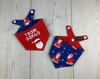 Team Santa Red and Blue Christmas dog Bandana
