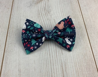 Winter Woodland Animals Dark Blue Dog Bow Tie
