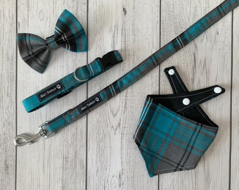 Dog Collar and Lead in a fabulous turquoise and grey tartan fabric  / dog collar and lead set