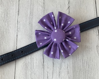 Purple Fabric Dog Collar Flower