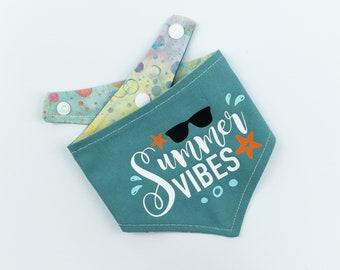 Reversible summer dog bandana / blue bandana / batik fabric / summer vibes