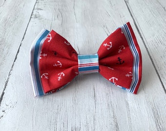 Handmade Double Dog Bow Tie in 'Anchors Away' Red Anchor fabric and complimentary red, white and blue stripe fabric.