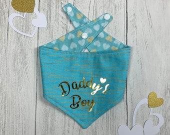 Daddy's Boy Blue and gold metallic reversible Dog Bandana