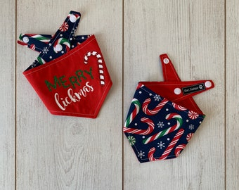 Merry Lickmas double sided Christmas dog Bandana