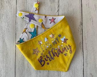 Birthday Dog Bandana in yellow and stars fabric.