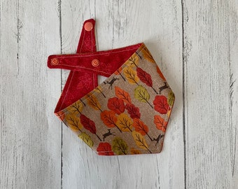 Woodland Scene and Red Autumn Leaves double sided Dog Bandana with a popper fastening