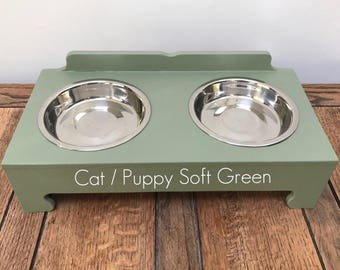 Handmade Double Bowl Raised Pet Feeding Stations (cat / puppy)