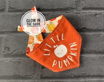 Glow in the Dark Little Pumpkin Double sided Dog Bandana.