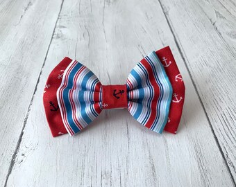 Double Dog Bow Tie in 'Anchors Away' Red, White and Blue Stripe fabric and complimentary Red anchor fabric.