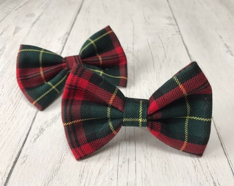 Handmade Dog Bow Tie in Albies signature Christmas Red, Gold and Green Tartan