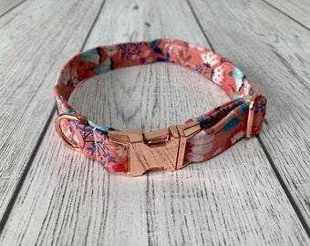 Gorgeous pink floral fabric dog collar with Rose Gold hardware / dog collar and lead set