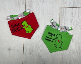 Double Sided Dog Bandana with a Dino Hugs logo in Red and Green
