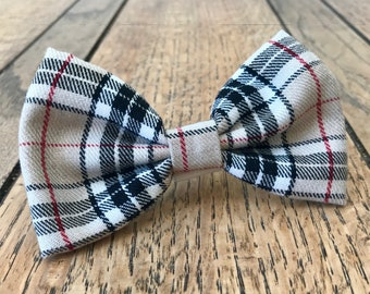 Handmade Dog Bow Ties in Albies Signature Beige and Red Tartan