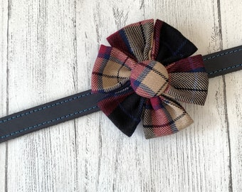 Beige and Burgundy Tartan Dog Collar Flower