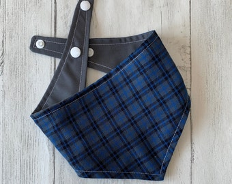 Blue and Grey Tartan Dog Bandana with a popper fastening