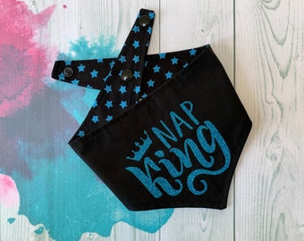 Reversible Dog Bandana / Black with BlueStars / Glitter Bandana / Nap King Bandana
