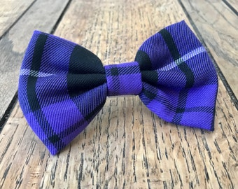 Dog Bow Ties in Purple and Black Tartan