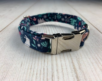 Dog Collar in a Stunning Winter Woodland Animal Fabric with Silver hardware