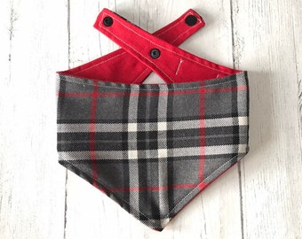 Red, Grey and White Tartan Dog Bandana with a popper fastening