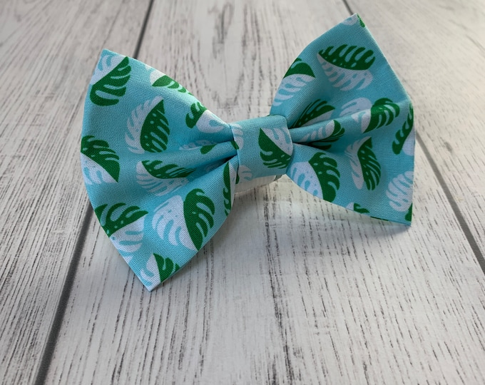 Featured listing image: Dog Bow Tie in Blue and Green Tropical Palm Leaves Fabric