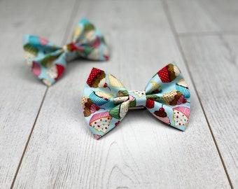 Blue Pup Cakes Birthday Dog Bow Tie
