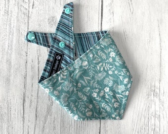 Duck Egg Woodland and Stripe double sided Bandana with a popper fastening