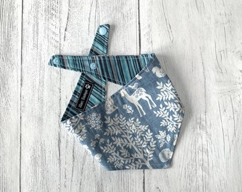 Blue Woodland and Stripe double sided Bandana with a popper fastening