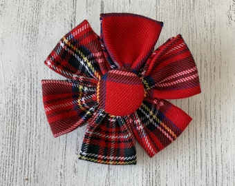 Red Stewart Tartan Dog Collar Flower