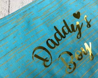 Daddy's Boy Blue and gold metallic reversible Dog Bandana