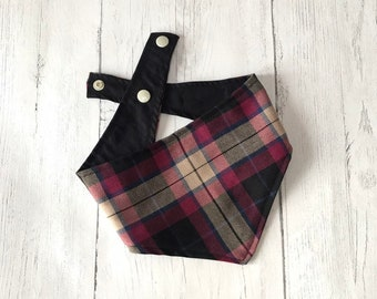 Burgundy Tartan Dog Bandana with a popper fastening