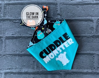 Glow in the Dark Cuddle Monster Double sided Dog Bandana.