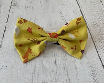 Mustard Autumn Motifs Dog Bow Tie