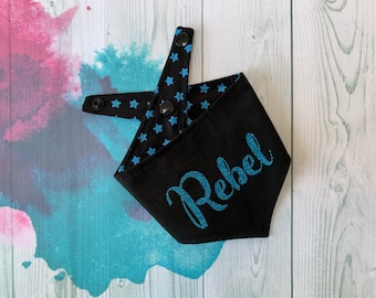 Reversible Dog Bandana with a 'Rebel' vinyl print/ Black with Blue Stars / Glitter Bandana / Rebel Bandana