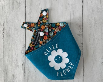 Reversible Hello Flower Dog Bandana in Teal with a multicoloured ditsy flower fabric