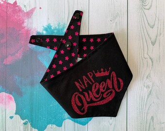 Reversible Dog Bandana / Black with Pink Stars / Glitter Bandana / Nap Queen Bandana