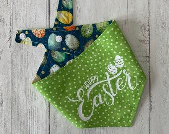 Reversible Happy Easter Dog Bandana in Green polka dots and teal multi coloured mini eggs fabric.