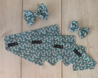 Teal Blue Over the Collar Christmas Dog Bandana with Snowmen and hearts
